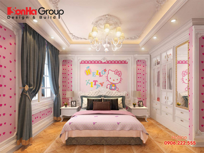 Phòng ngủ cho con gái được trang trí theo cách sử dụng nhân vật hoạt hình