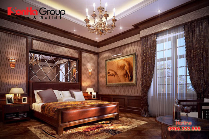 Phương án bố trí phòng ngủ biệt thự cổ điển đảm bảo sự thông thoáng, ánh sáng đầy đủ vào ban ngày và có thể giảm được cường độ ánh sáng, khí lưu thông quá nhiều vào đêm