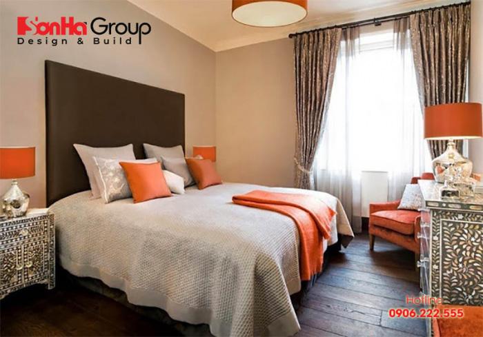 Sắc cam điểm xuyết cho không gian phòng ngủ thêm đẹp và hiện đại