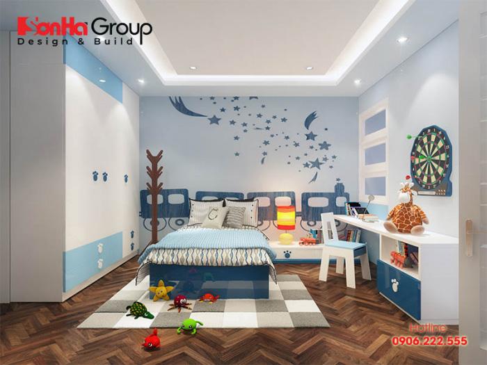 Thêm một ý tưởng sắp xếp nội thất mẫu phòng ngủ dành cho con trai với sắc màu nhẹ nhàng, đúng sở thích