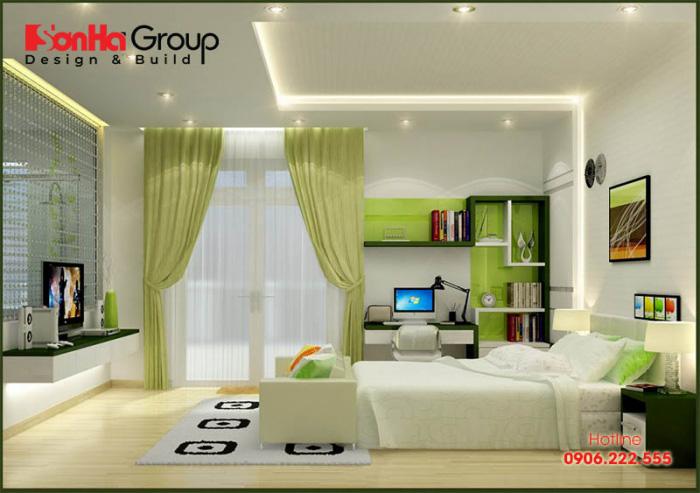Thêm một ý tưởng trang trí phòng ngủ bé trai 10 tuổi với gam màu xanh lá đẹp