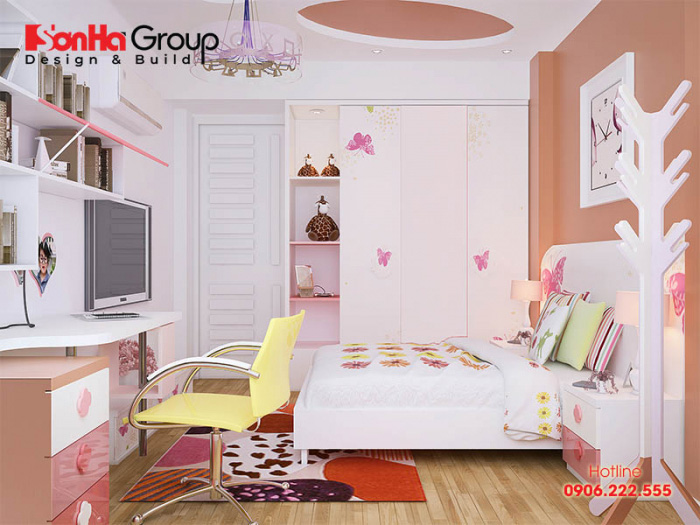 Thiết kế nội thất phòng ngủ con gái trong không gian rộng với sắc màu tươi sáng nhẹ nhàng