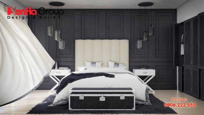 Thiết kế nội thất phòng ngủ hiện đại và cá tính với tone màu trắng – đen