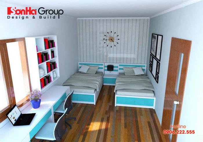 Thiết kế phòng ngủ 2 bé trai tông xoẹt tông vô cùng đẹp và hài hòa