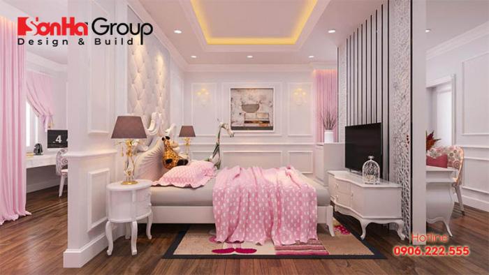 Thiết kế phòng ngủ bé gái màu hồng trắng với nội thất tân cổ điển đẹp nhẹ nhàng