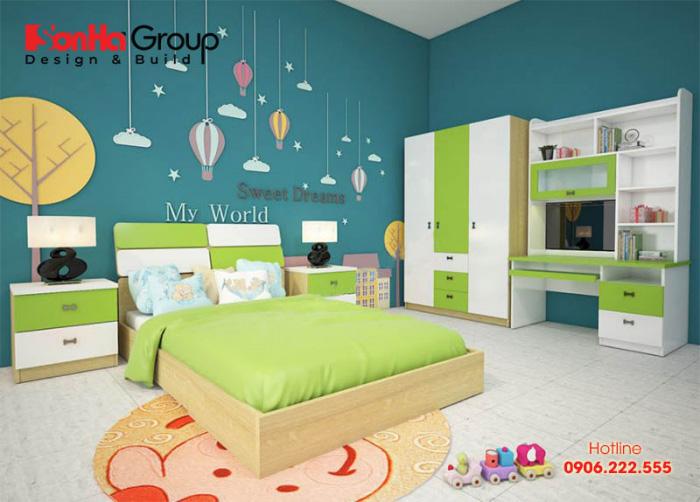 Thiết kế phòng ngủ bé trai với nội thất đẹp đảm bảo không gian học tập và nghỉ ngơi thoải mái