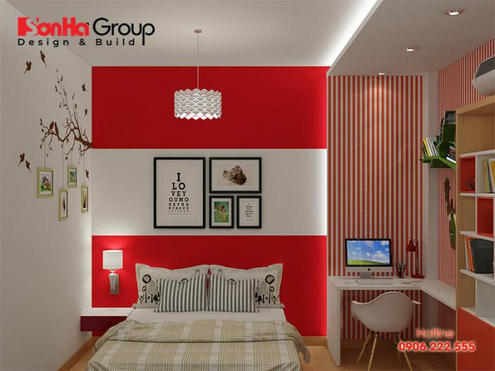 Thiết kế phòng ngủ đẹp hiện đại với gam màu đỏ trắng hợp thời