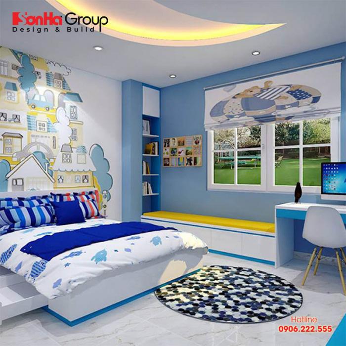 Thiết kế phòng ngủ thoáng, sinh động giúp bé phát triển toàn diện