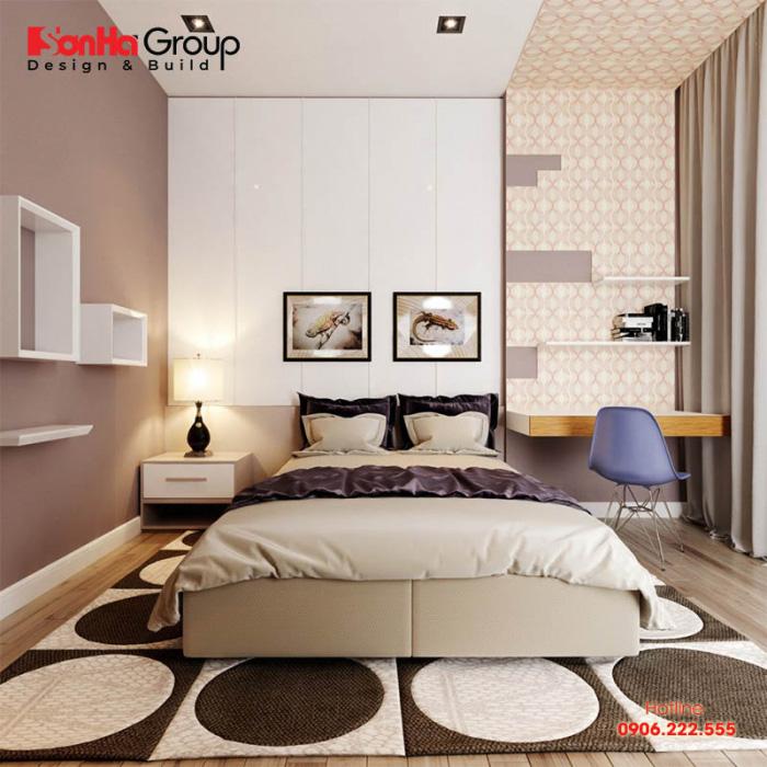 Thiết kế phòng ngủ vợ chồng diện tích 10m2 theo phong cách hiện đại đơn giản mang đến một không gian cục lỳ tiện nghi, hài hòa