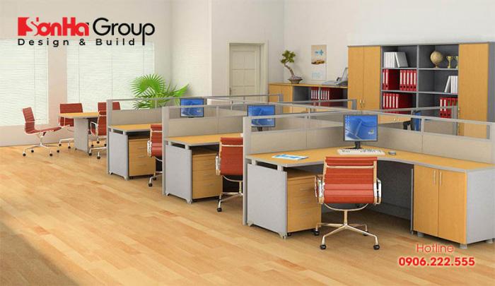 Thiết kế văn phòng làm việc nhỏ chuyên nghiệp với vách ngăn tiện ích