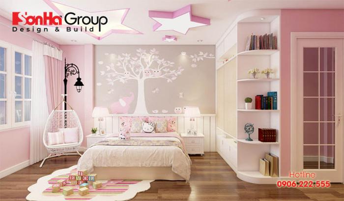 Tinh tế hơn với mẫu thiết kế nội thất phòng ngủ cho bé gái với kiểu dáng nội thất hiện đại đẹp với sắc trắng đan xen hồng dễ thương