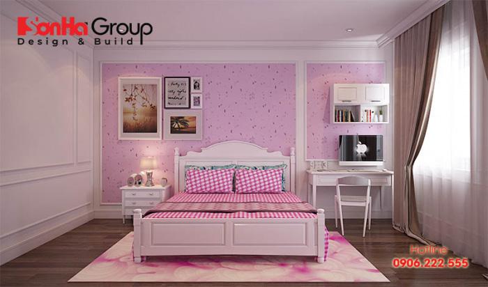 Tinh tế hơn với mẫu thiết kế phòng ngủ nội thất hiện đại đẹp với sắc trắng và hồng chủ đạo dành cho bé gái