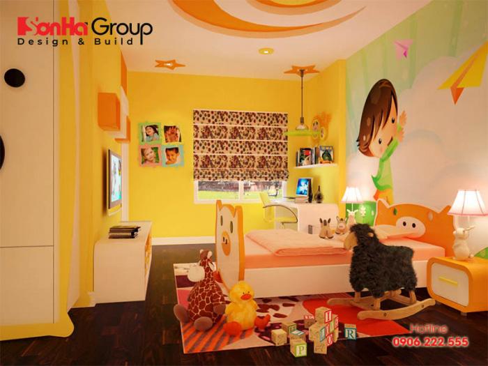 Tinh tế hơn với mẫu thiết kế phòng ngủ nội thất hiện đại đẹp với sắc vàng chủ đạo dành cho con gái đúng sở thích mà bé đặt ra