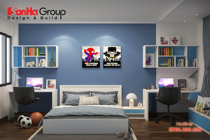 Trang trí phòng ngủ bé trai theo phong cách thể thao, khỏe khoắn