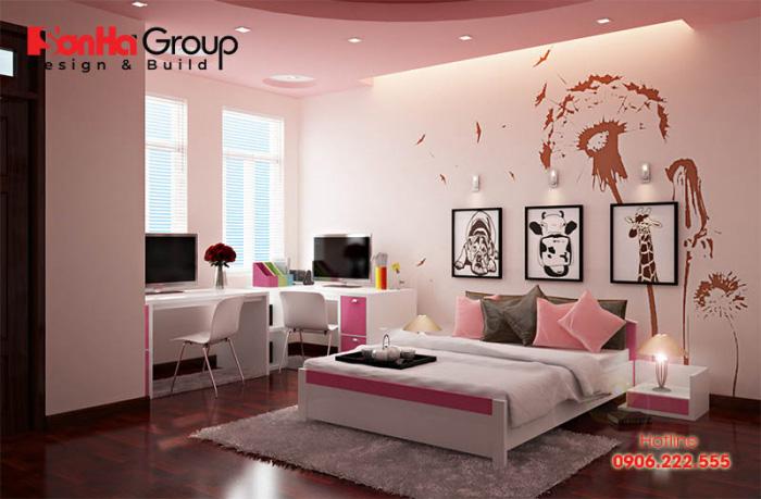 Trang trí phòng ngủ cho bé gái 7 tuổi với một vài món đồ nội thất mang màu hồng cá tính