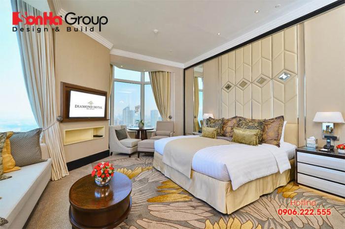 Tùy thuộc vào loại phòng để chủ đầu tư và kiến trúc sư đưa ra diện tích phòng ngủ khách sạn phù hợp nhất đảm bảo tiêu chuẩn 4 sao