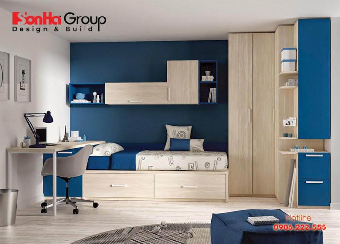Xanh dương luôn là gam màu được các bố mẹ lựa chọn trang trí cho phòng ngủ của các bé trai