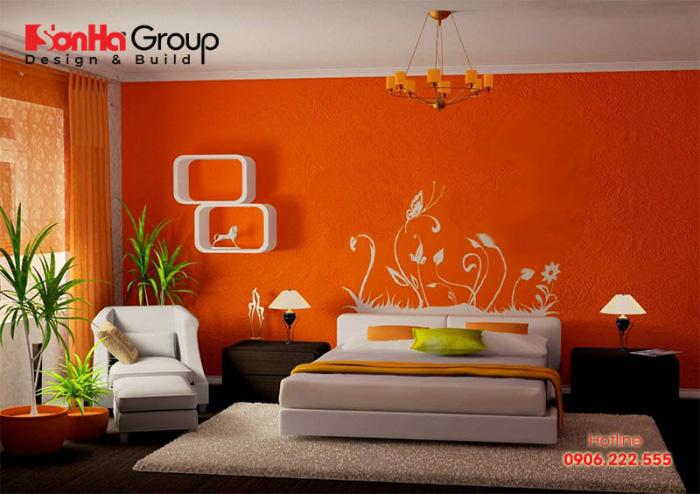 Ý tưởng thiết kế phòng ngủ hiện đại với gam màu cam nổi bật
