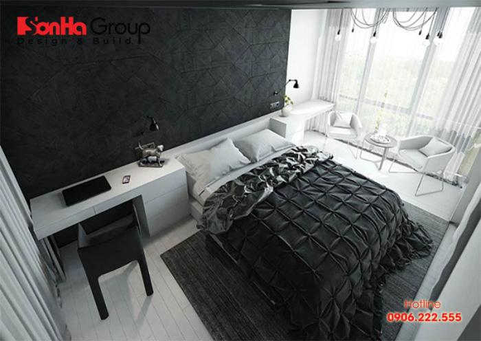 Ý tưởng thiết kế phòng ngủ hiện đại với tone màu trắng đen độc đáo 3