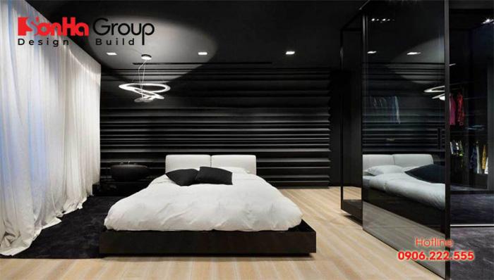 Ý tưởng thiết kế phòng ngủ hiện đại với tone màu trắng đen độc đáo 5