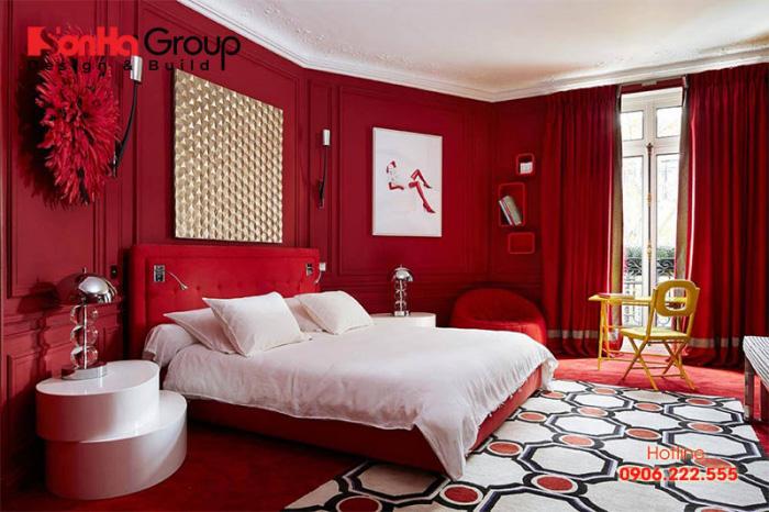 Ý tưởng trang trí phòng ngủ đẹp với gam màu đỏ trắng chủ đạo cho vợ chồng mới cưới