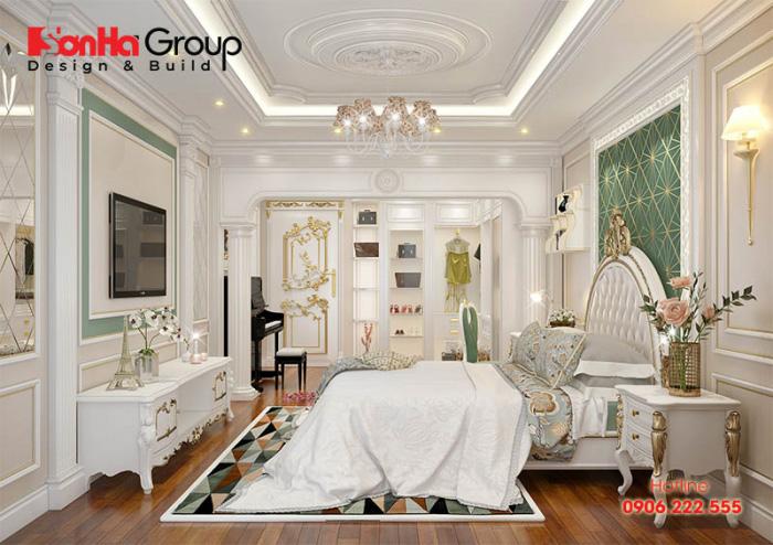 Ý tưởng trang trí phòng ngủ mang phong cách cổ điển đẹp, trang nhã dành cho con gái với tone màu trắng chủ đạo vô cùng hoàn hảo