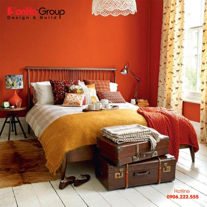 Ý tưởng trang trí phòng ngủ màu cam đẹp đón đầu xu hướng thịnh hành hiện nay