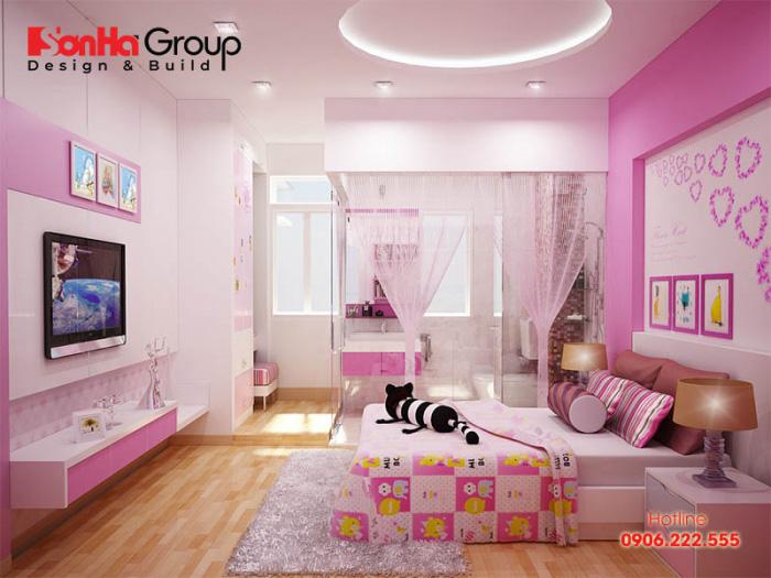 Ý tưởng trang trí phòng ngủ với gam màu hồng trắng hài hòa cho bé gái 8 tuổi