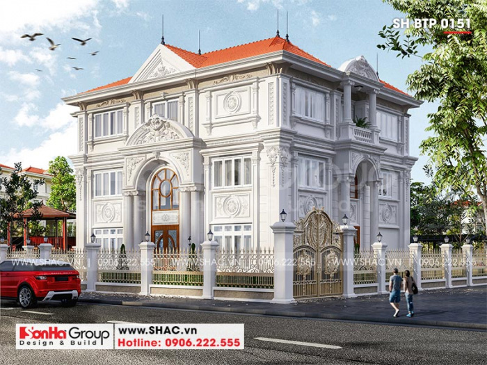 Phối cảnh tổng thế kiến trúc 2 mặt tiền ngôi biệt thự phong cách tân cổ điển đẹp tại Hà Nội
