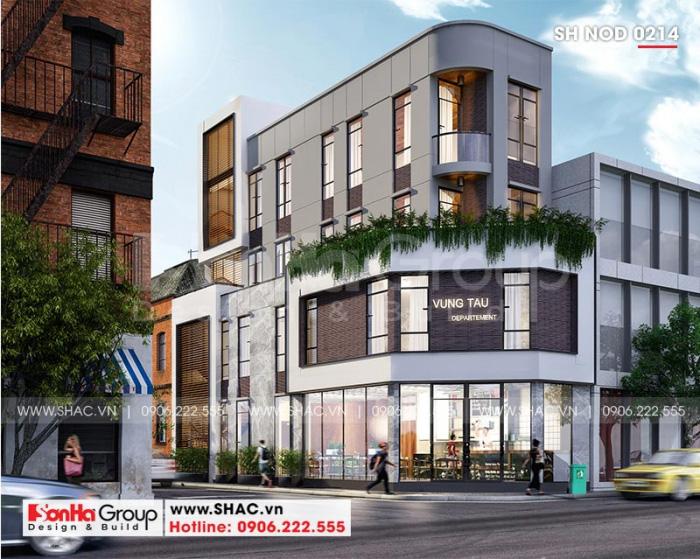 Mặt tiền hiện đại của nhà phố 4 tầng ấn tượng với các chi tiết đơn giản, màu sắc hài hòa