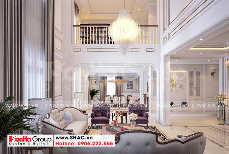 Thiết kế nội thất phòng khách cho biệt thự tân cổ điển cao cấp tại Hà Nội