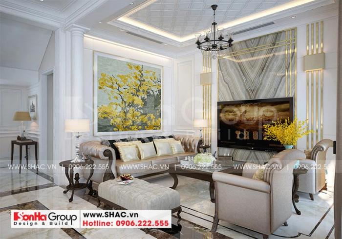 Không gian phòng khách biệt thự với thiết kế nội thất tân cổ điển luôn tạo cảm giác thoải mái, thân thuộc cho các vị khách đến thăm nhà