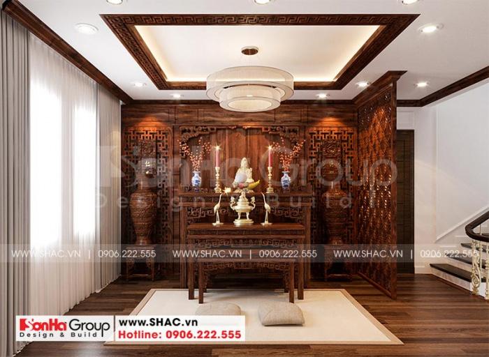 Nội thất phòng thờ bằng gỗ đẹp, đơn giản mà không quá cầu kỳ dành cho biệt thự tân cổ điển 3 tầng