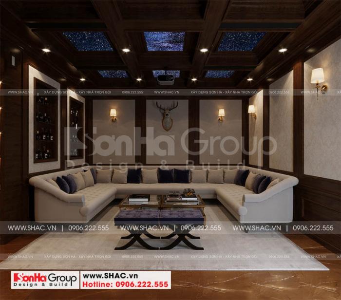 Không gian nội thất phòng rượu được thiết kế lạ mắt và tinh tế