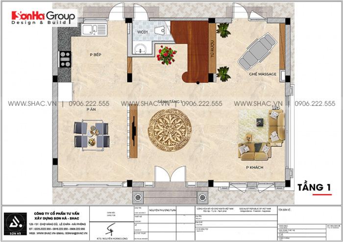 Phương án bố trí công năng tầng 1 biệt thự song lập tân cổ điển tại Vinhomes Imperia Hải Phòng