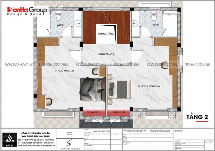 Phương án bố trí công năng tầng 2 biệt thự song lập tân cổ điển tại Vinhomes Imperia Hải Phòng