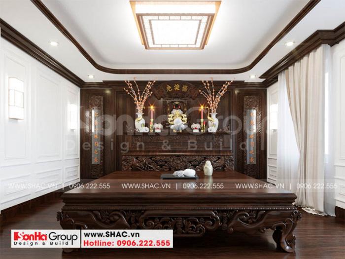 Thiết kế nội thất phòng thờ thoáng đãng và tôn nghiêm với nội thất gỗ
