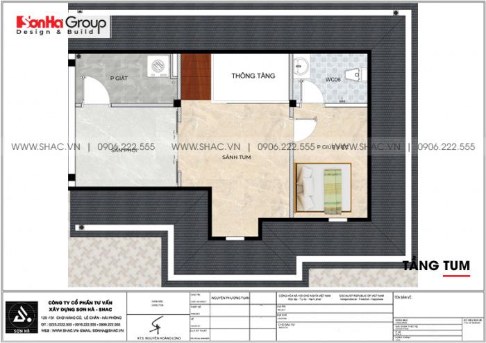 Phương án bố trí công năng tầng tum biệt thự song lập tân cổ điển tại Vinhomes Imperia Hải Phòng
