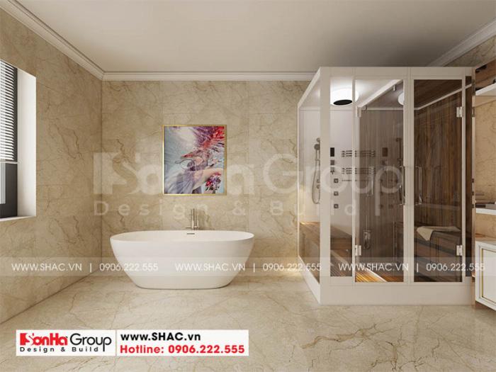 Thiết kế nội thất phòng tắm và xông hơi tiện nghi cho biệt thự tân cổ điển