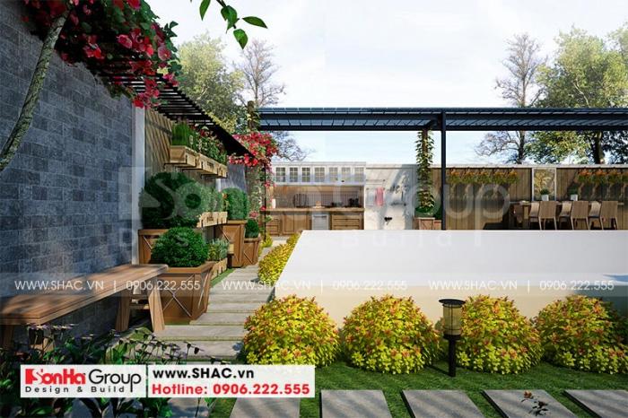 Thiết kế tiểu cảnh sân vườn biệt thự Vinhomes Imperia đẹp mắt