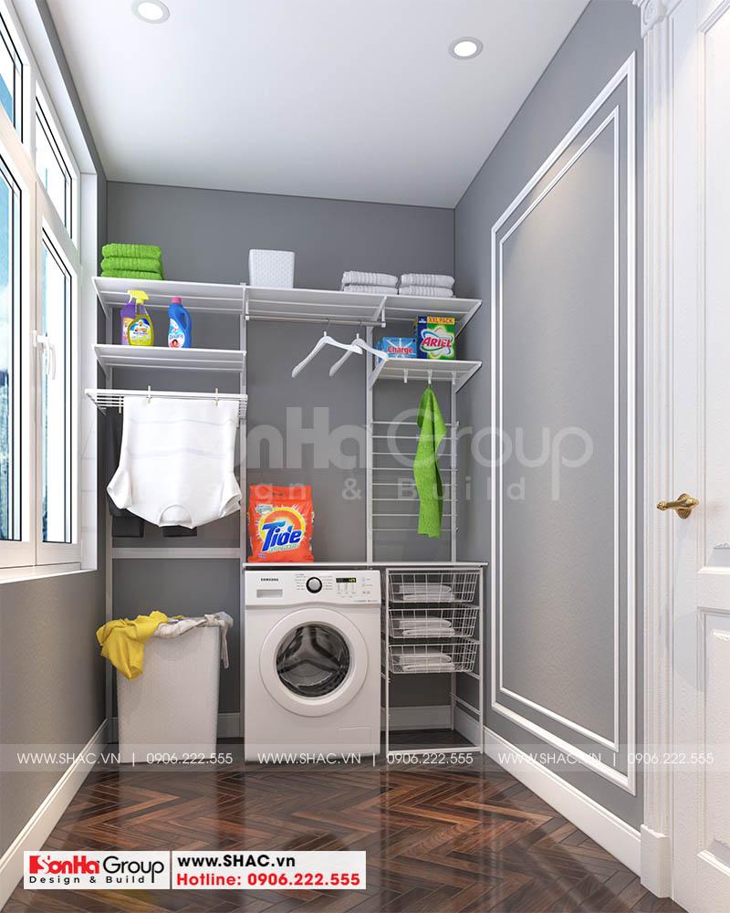 Không gian nội thất phòng giặt với các vật dụng giản tiện và thiết yếu nhất