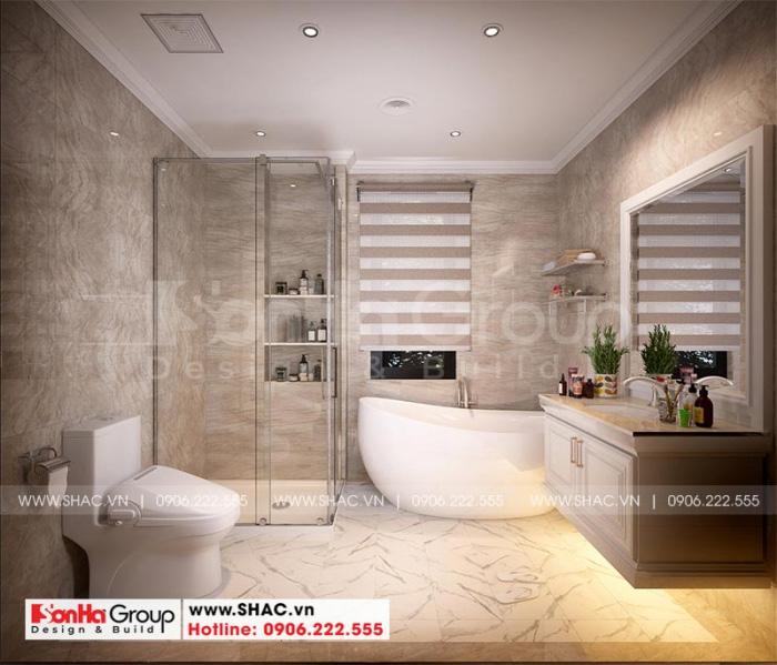 Cách bố trí nội thất phòng tắm, vệ sinh khép kín đơn giản, tiện nghi cho phòng ngủ biệt thự tại Hải Phòng