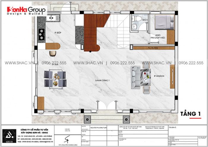 Mặt bằng chi tiết công năng tầng 1 biệt thự Vinhomes Imperia 12m x 11,8m phong cách tân cổ điển tại Hải Phòng