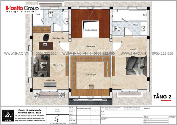 Mặt bằng chi tiết công năng tầng 2 biệt thự Vinhomes Imperia 12m x 11,8m phong cách tân cổ điển tại Hải Phòng