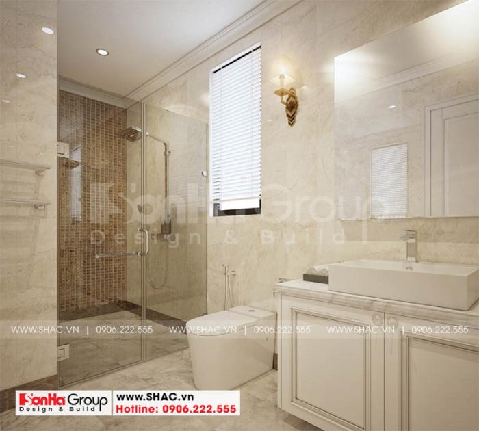Phòng tắm và vệ sinh được trang trí đẹp mắt với vật liệu và thiết bị nhập khẩu
