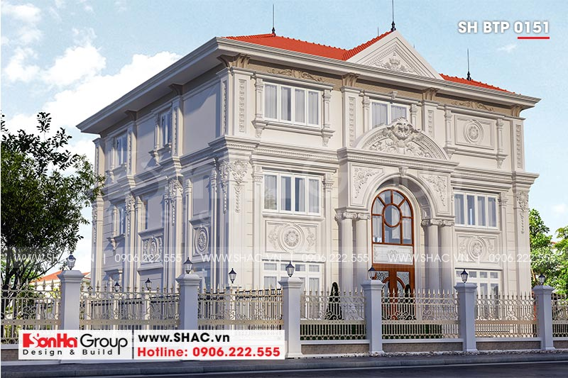 Mẫu biệt thự tân cổ điển 3 tầng 2 mặt tiền đẹp tại Hà Nội - SH BTP 0151 2