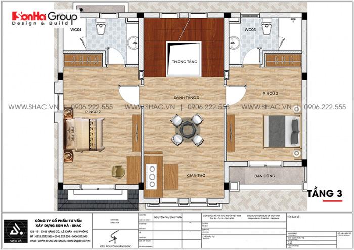 Mặt bằng chi tiết công năng tầng 3 biệt thự Vinhomes Imperia 12m x 11,8m phong cách tân cổ điển tại Hải Phòng