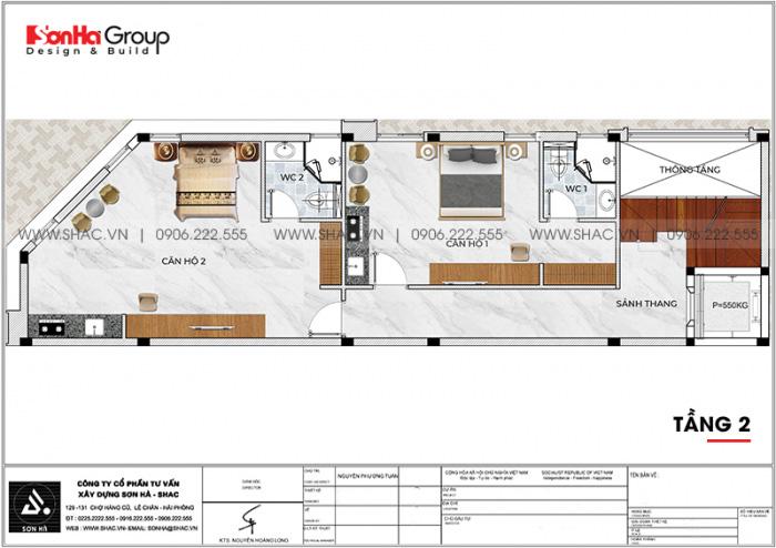 Bố trí công năng tầng 2 nhà ống kết hợp kinh doanh và căn hộ cho thuê tại Vũng Tàu