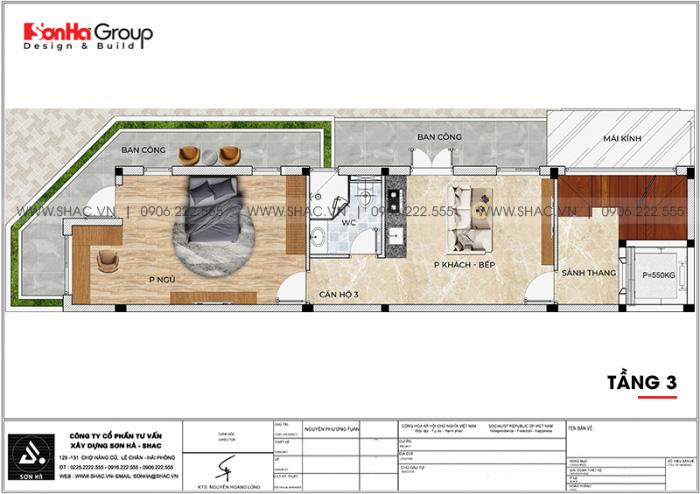 Bố trí công năng tầng 3 nhà ống kết hợp kinh doanh và căn hộ cho thuê tại Vũng Tàu