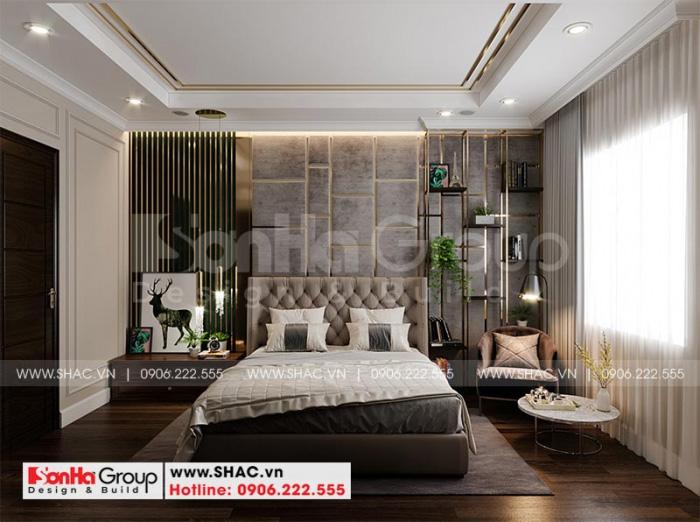 Thiết kế nội thất phòng ngủ đẹp với phong cách tân cổ điển ấm cúng, trang nhã dành cho vợ chồng gia chủ tại tầng 2